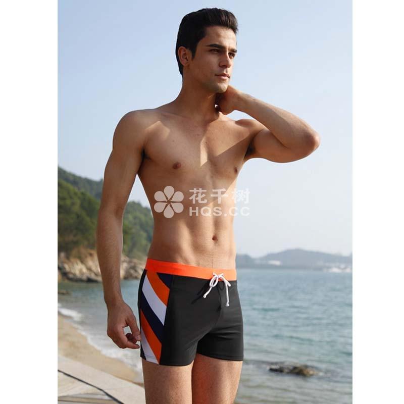 夏艳橙黄条纹丝男士游泳裤图片