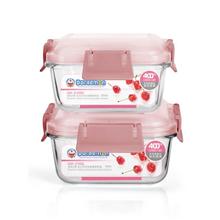 哆啦A梦活力扣方形玻璃保鲜盒(两件套)DM-3194