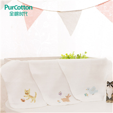 全棉时代婴儿吸汗巾纱布单头印花3条装