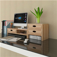 升盈双层底座桌面收纳办公室台式置物架/抽屉(C款浅胡桃)