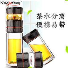 宜加美泡茶创意便携式双层玻璃水杯B823(440ML)