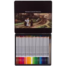 得力deli24色铁盒水溶性彩色铅笔水溶性彩铅manbetx万博官方下载6521