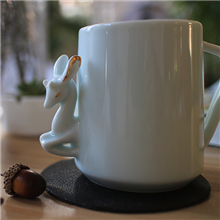 飞形物马克杯咖啡杯手工陶瓷杯情侣杯原创小鹿金鹿隐-跳跃青白色