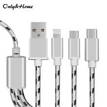 Only&Home移动电源专用一拖三编织数据线KL-YTS03